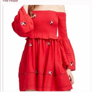 NWT Free People Counting Daisies Embroidered Mini